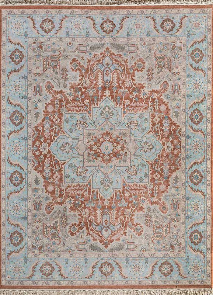 atlantis red and orange wool hand knotted Rug - HeadShot