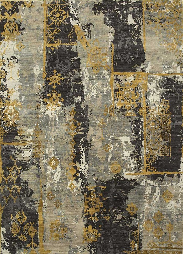 entropy grey and black wool hand knotted Rug - HeadShot