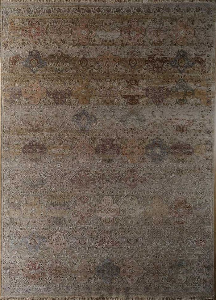 blithe beige and brown wool and silk hand knotted Rug - HeadShot