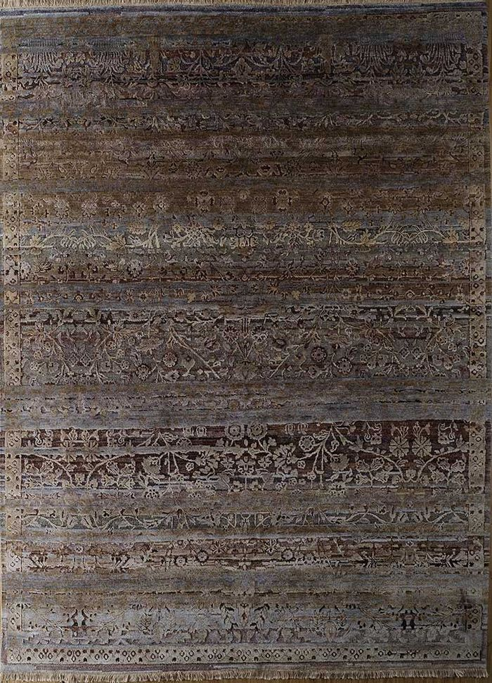 viscaya beige and brown wool and silk hand knotted Rug - HeadShot