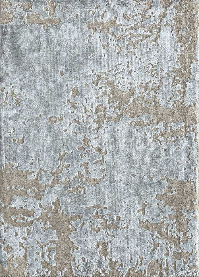 entropy grey and black wool and bamboo silk hand knotted Rug - HeadShot