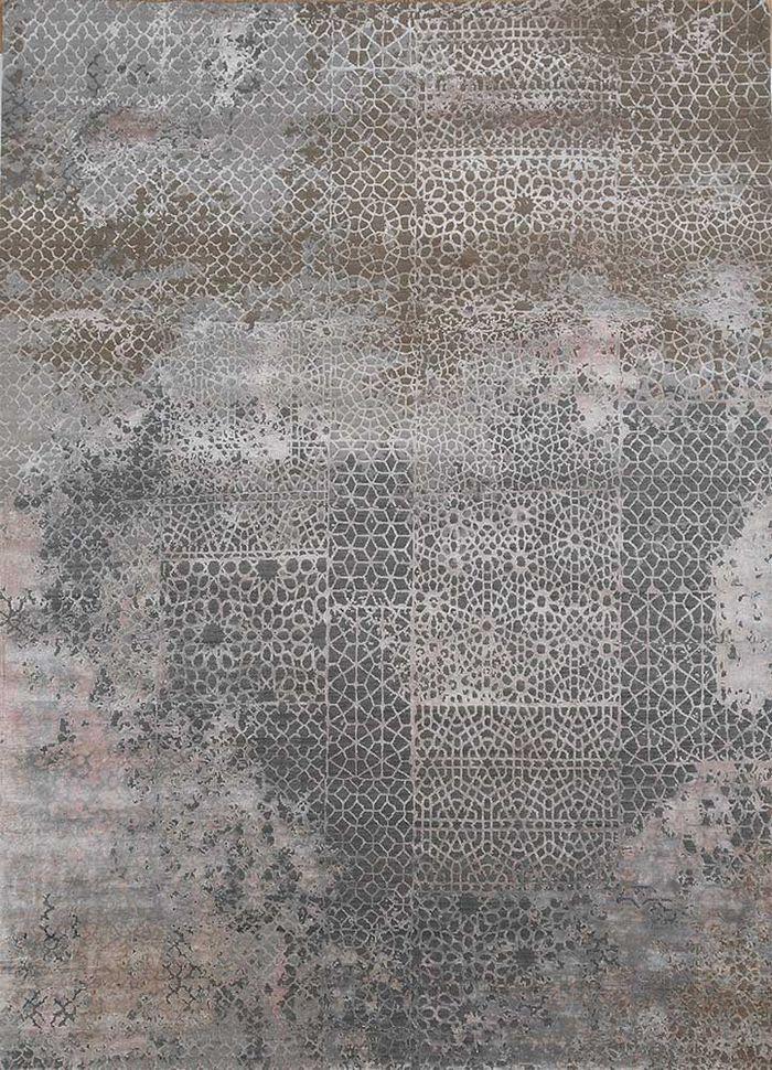 tattvam grey and black wool and bamboo silk hand knotted Rug - HeadShot