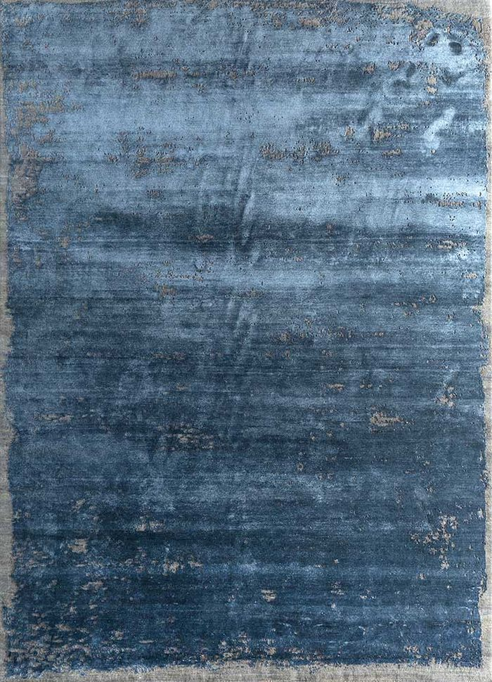 urban pause by kavi blue wool and bamboo silk hand knotted Rug - HeadShot