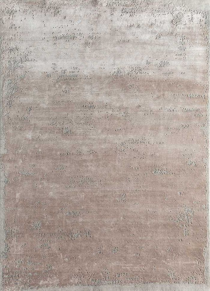 urban pause by kavi beige and brown wool and bamboo silk hand knotted Rug - HeadShot