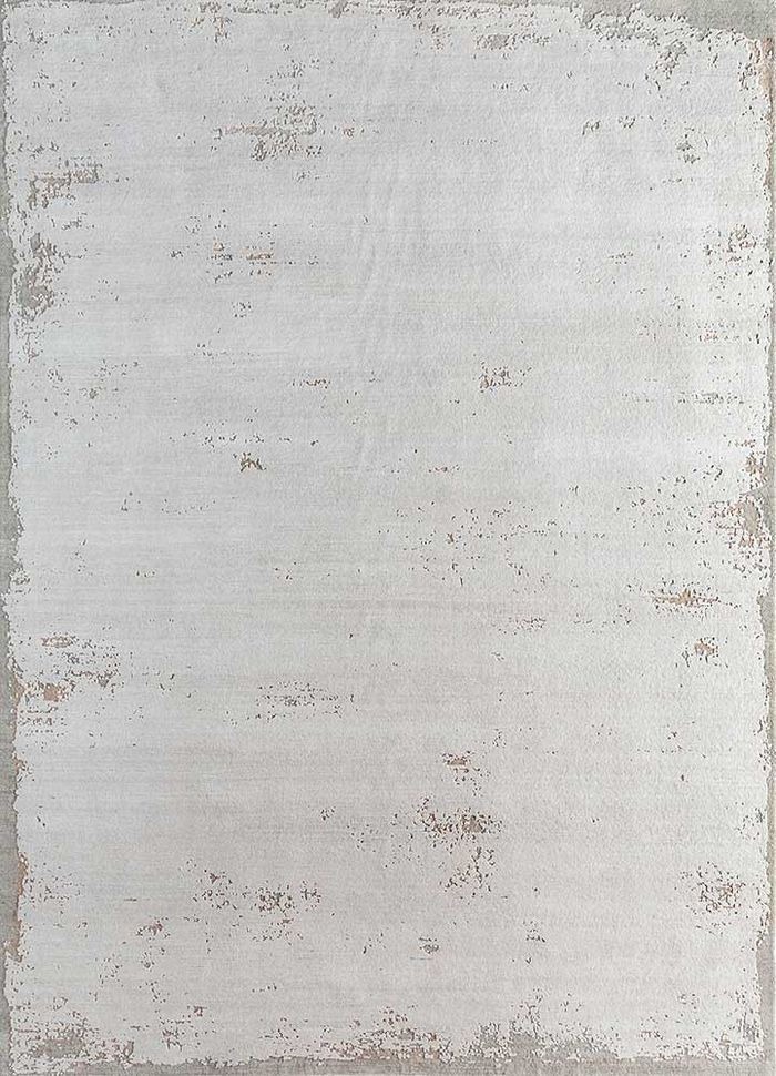 urban pause by kavi ivory wool and bamboo silk hand knotted Rug - HeadShot