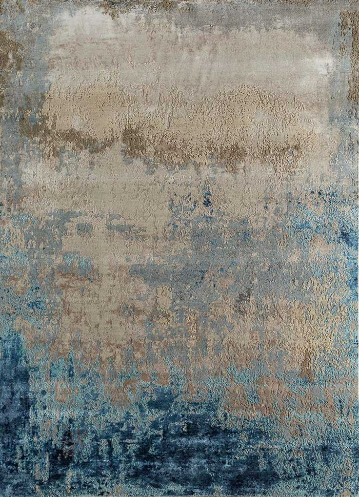 faulty by kavi ivory wool and viscose hand knotted Rug - HeadShot