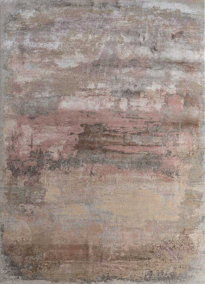faulty by kavi grey and black wool and bamboo silk hand knotted Rug - HeadShot