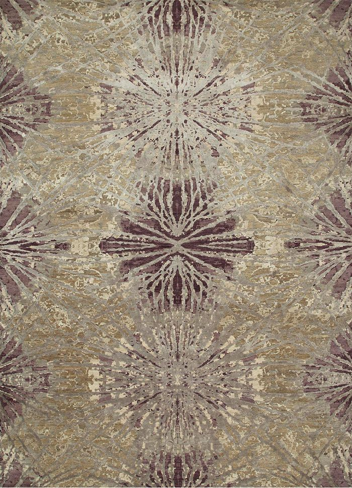 chaos theory by kavi beige and brown wool and bamboo silk hand knotted Rug - HeadShot