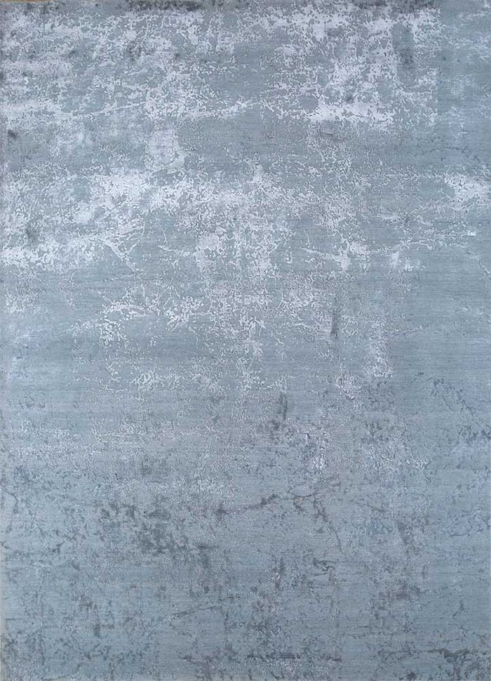 chaos theory by kavi blue wool and bamboo silk hand knotted Rug - HeadShot