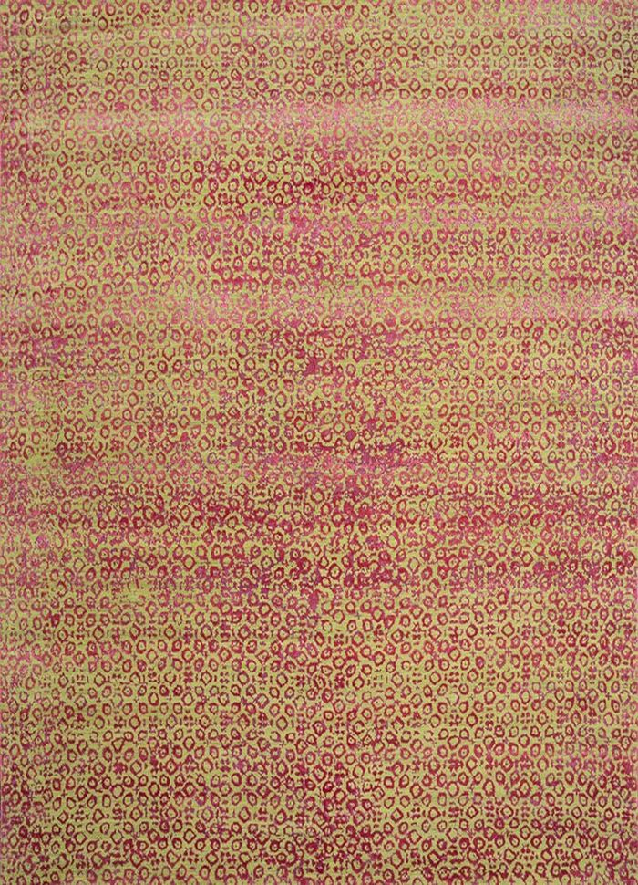 project error by kavi green wool and bamboo silk hand knotted Rug - HeadShot