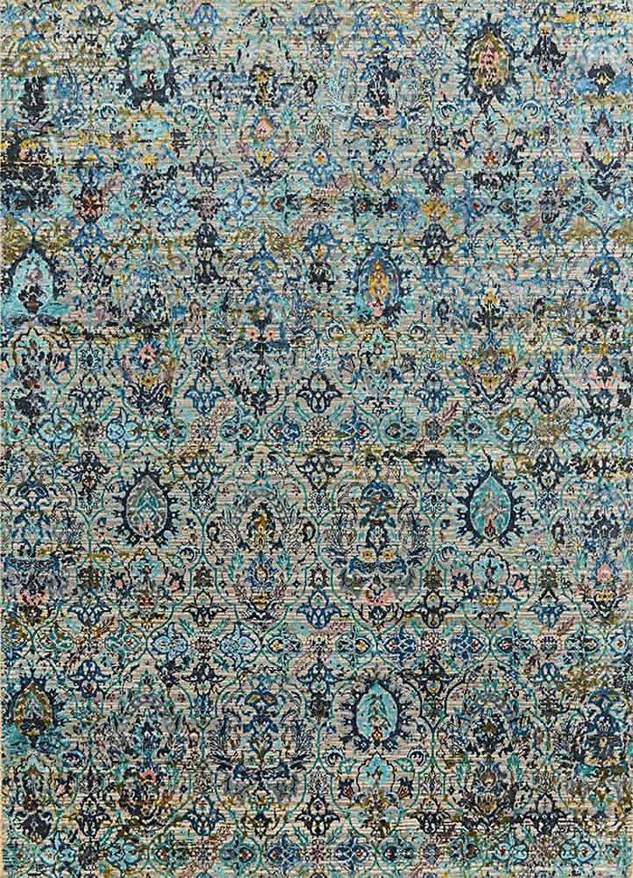 chaos theory by kavi ivory wool and bamboo silk hand knotted Rug - HeadShot