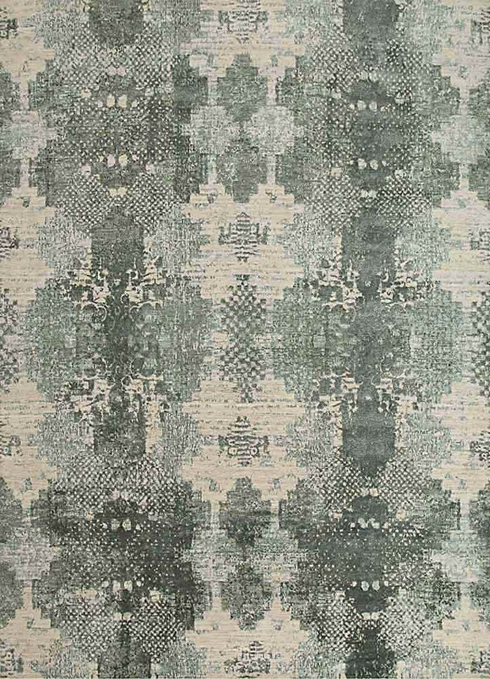 project error by kavi ivory wool and bamboo silk hand knotted Rug - HeadShot