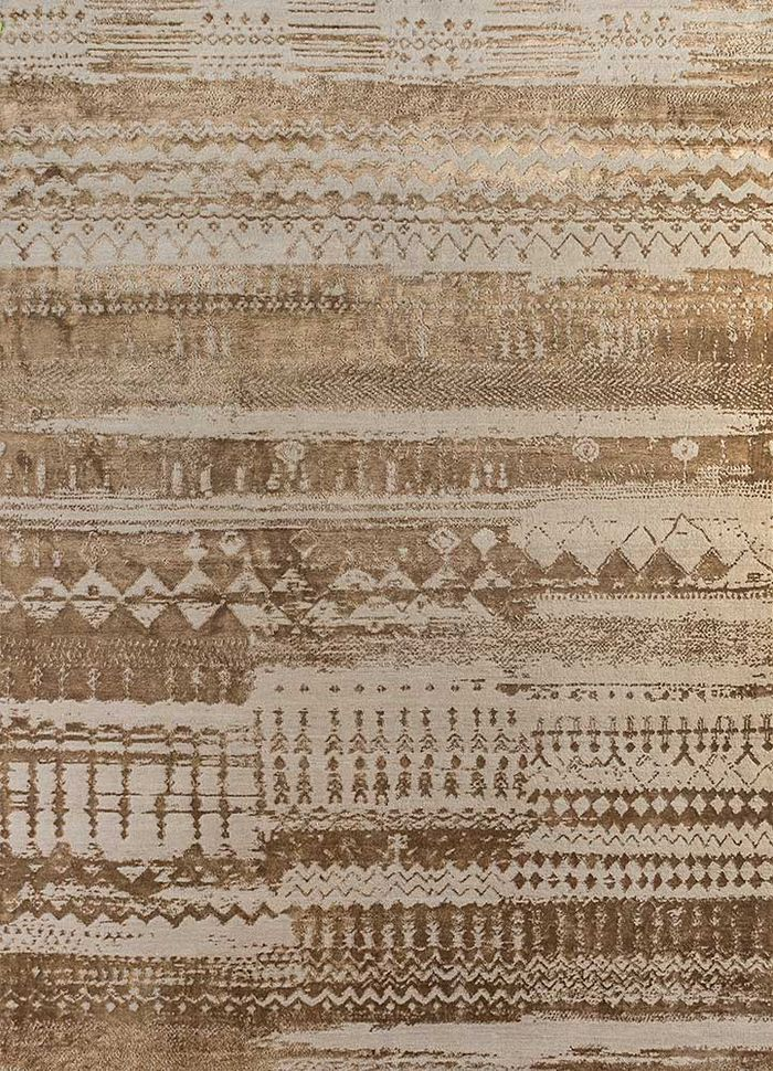 project error by kavi beige and brown wool and bamboo silk hand knotted Rug - HeadShot