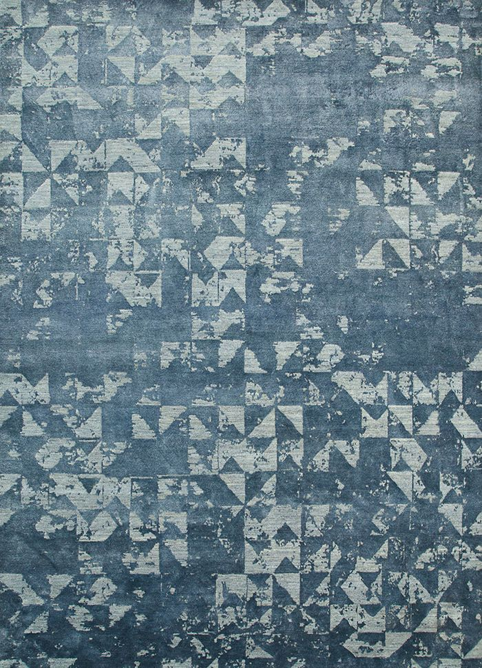 project error by kavi blue wool and bamboo silk hand knotted Rug - HeadShot