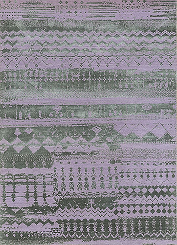 project error by kavi pink and purple wool and bamboo silk hand knotted Rug - HeadShot