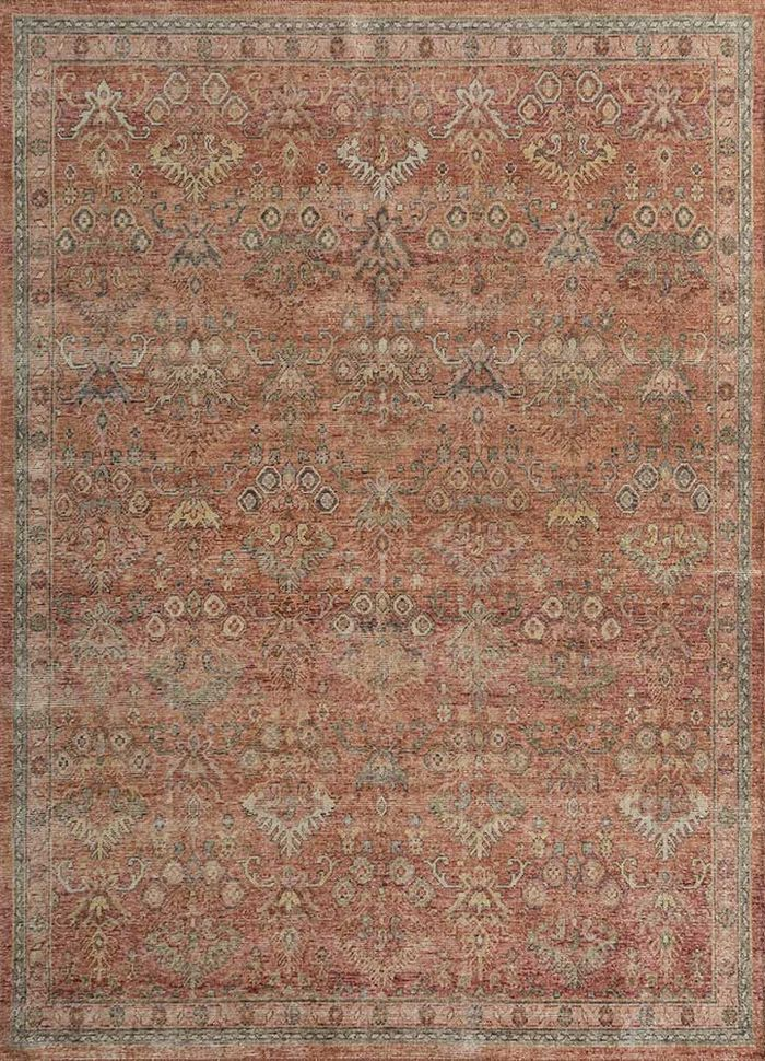 eden red and orange wool hand knotted Rug - HeadShot