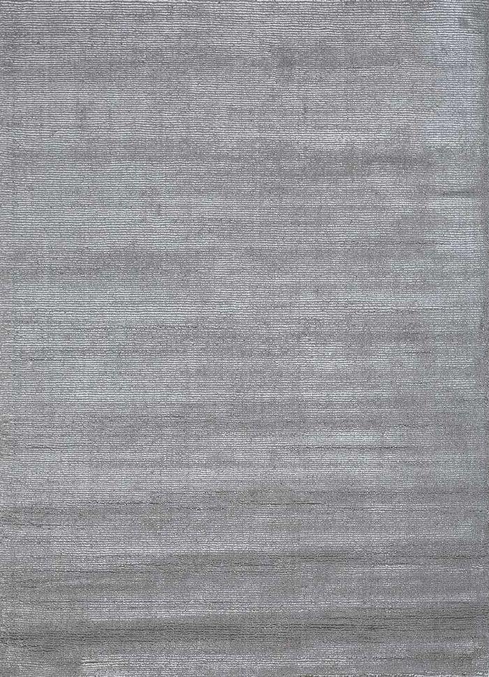 konstrukt grey and black wool and viscose hand loom Rug - HeadShot