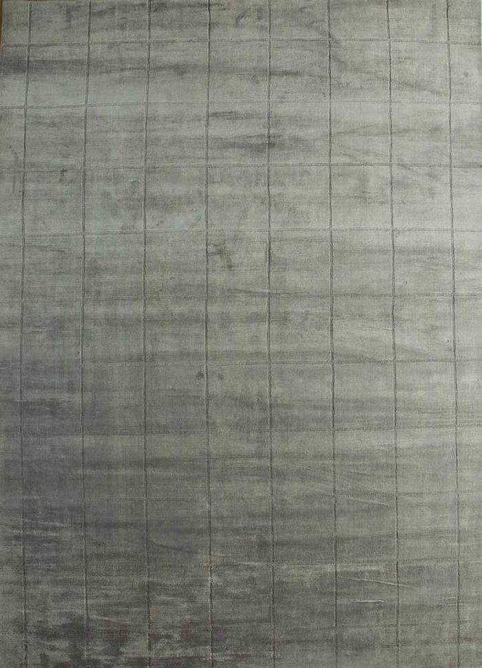 graze grey and black bamboo silk hand loom Rug - HeadShot