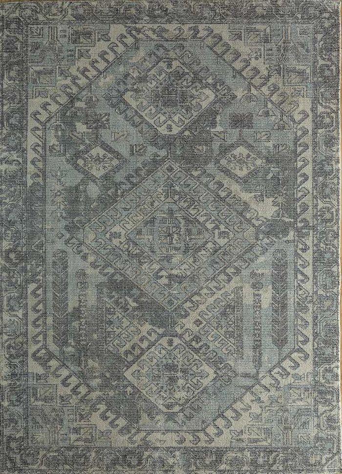 acar blue wool and bamboo silk hand loom Rug - HeadShot