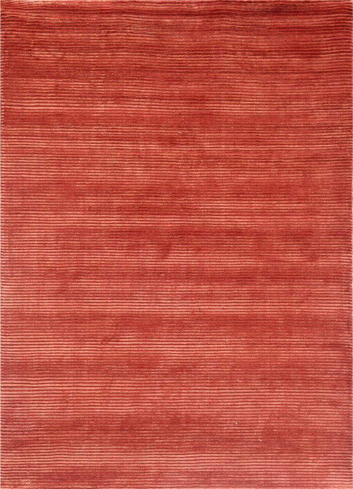 basis red and orange wool and viscose hand loom Rug - HeadShot