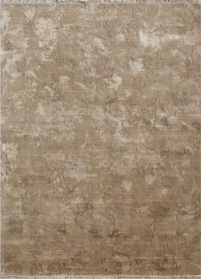 pansy ivory wool and silk hand knotted Rug - HeadShot