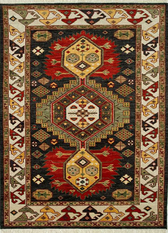 village by artemis grey and black wool hand knotted Rug - HeadShot