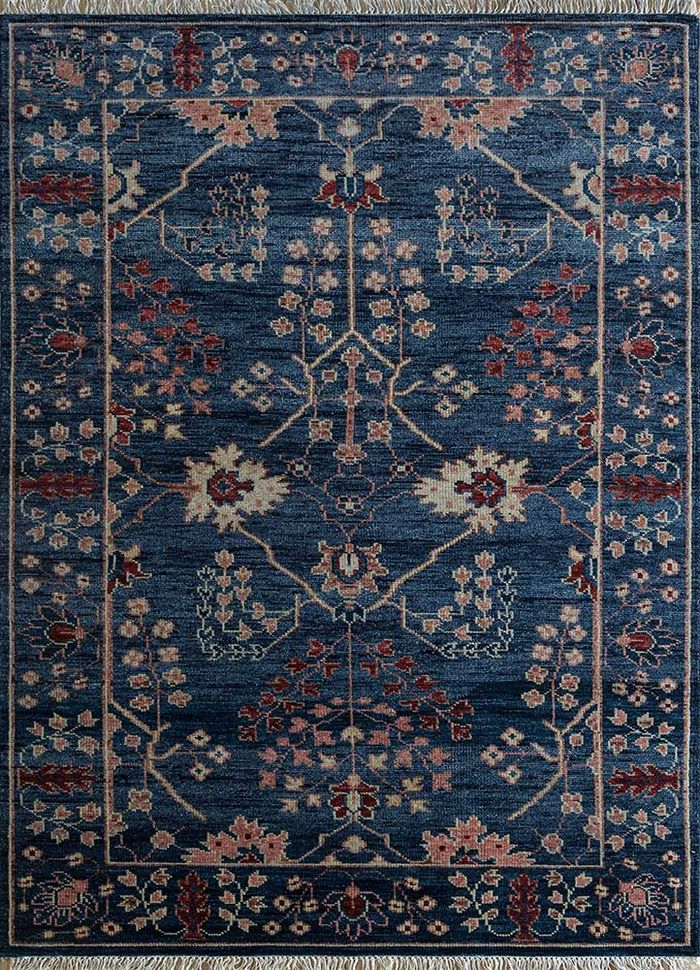 eden blue wool hand knotted Rug - HeadShot