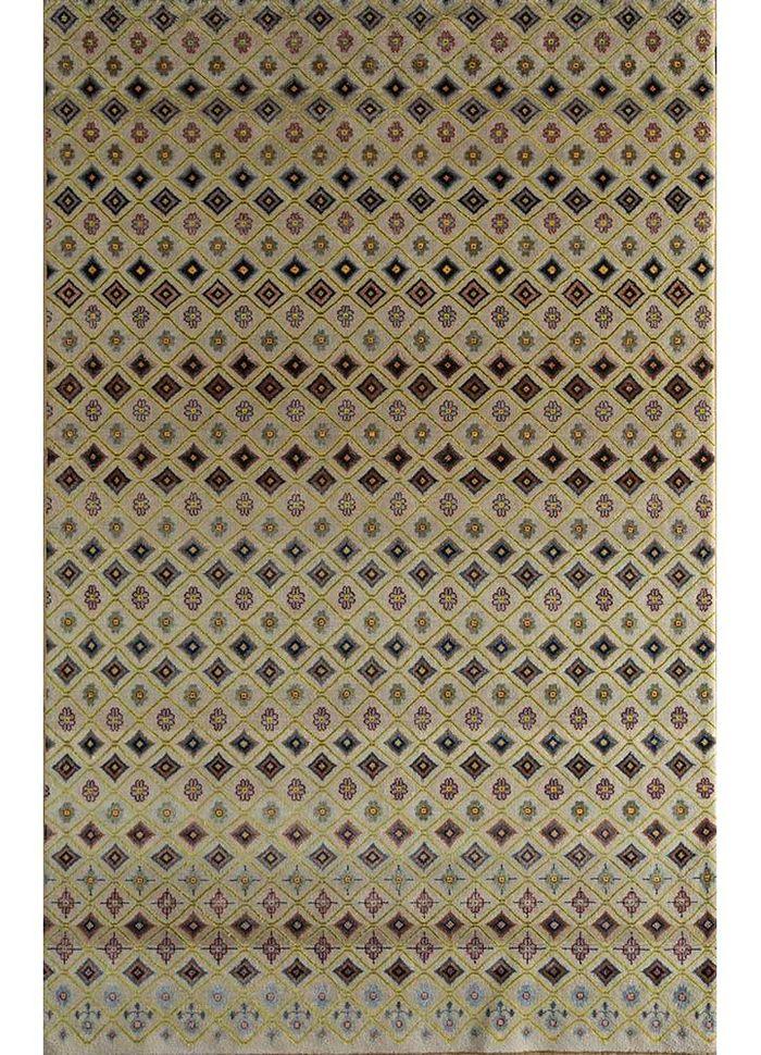 artisan originals ivory wool and bamboo silk hand knotted Rug - HeadShot