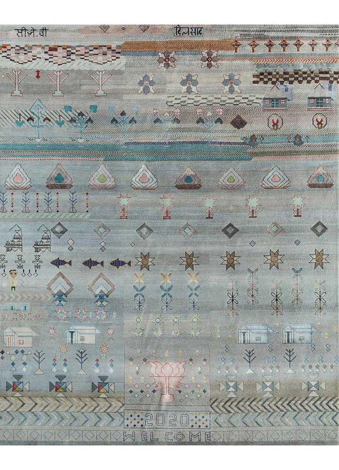 freedom manchaha blue wool and bamboo silk hand knotted Rug - HeadShot