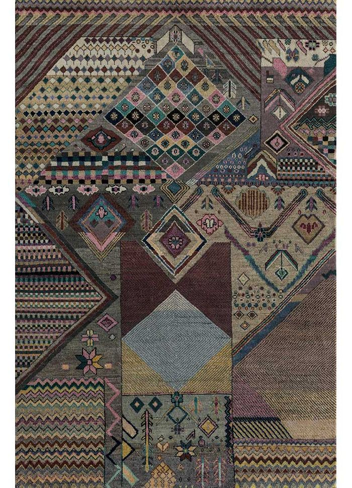 artisan originals beige and brown wool and bamboo silk hand knotted Rug - HeadShot