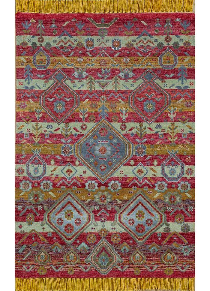 artisan originals red and orange wool and bamboo silk hand knotted Rug - HeadShot