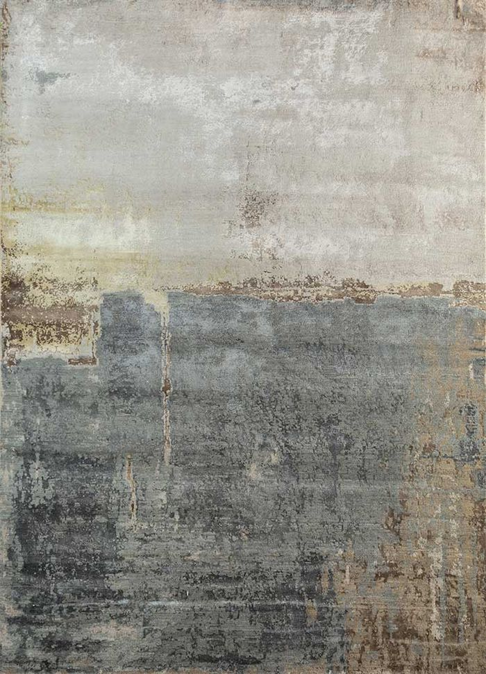 faulty by kavi ivory wool and bamboo silk hand knotted Rug - HeadShot