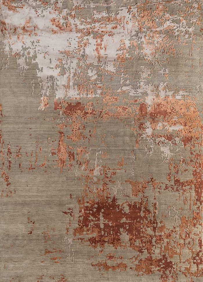 tattvam beige and brown wool and bamboo silk hand knotted Rug - HeadShot