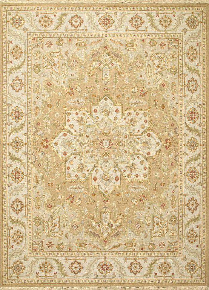 jaimak beige and brown wool hand knotted Rug - HeadShot