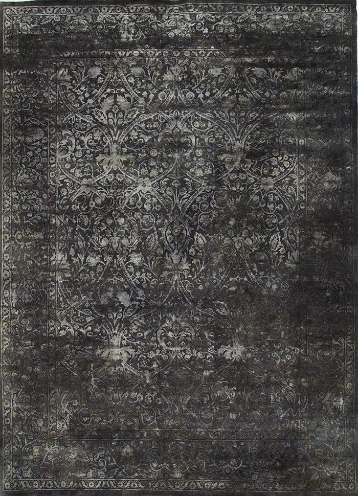 lacuna grey and black wool and silk hand knotted Rug - HeadShot