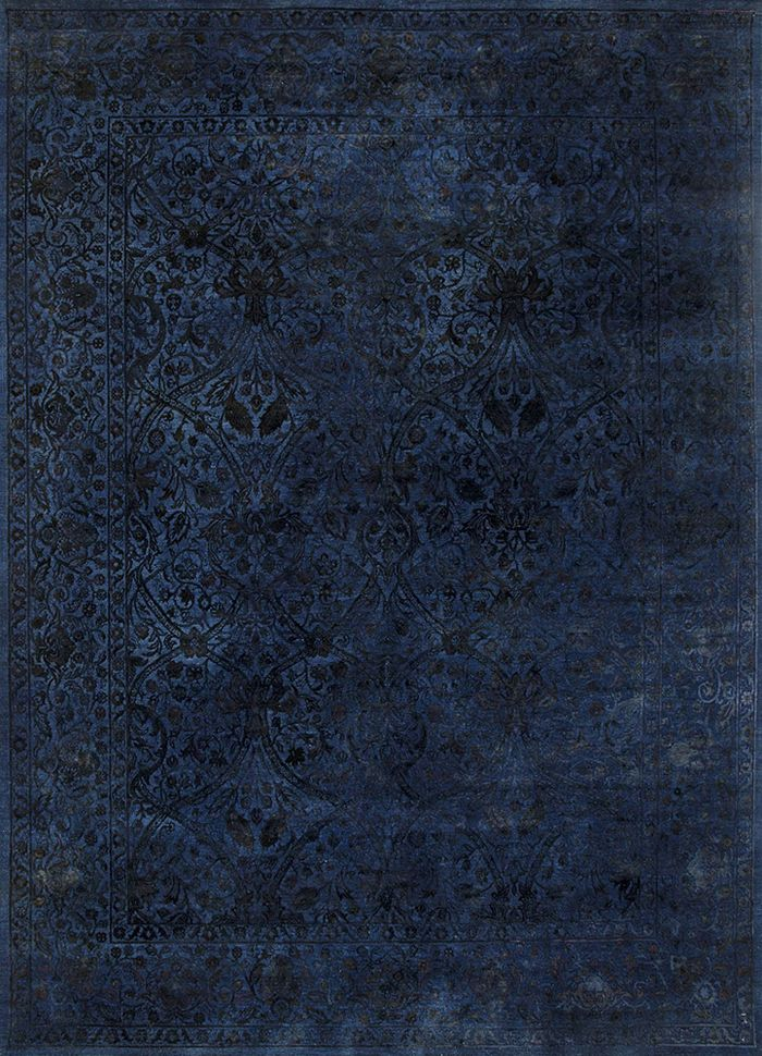 lacuna blue wool and silk hand knotted Rug - HeadShot