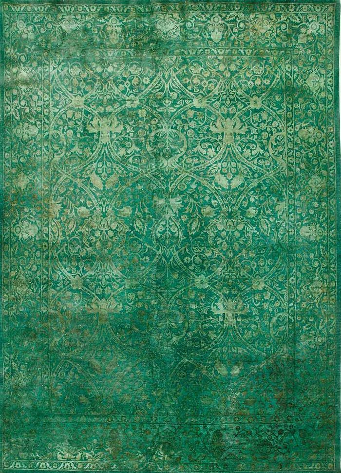 lacuna green wool and silk hand knotted Rug - HeadShot