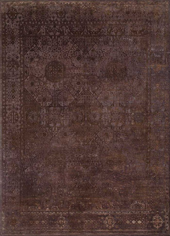 lacuna beige and brown wool and silk hand knotted Rug - HeadShot