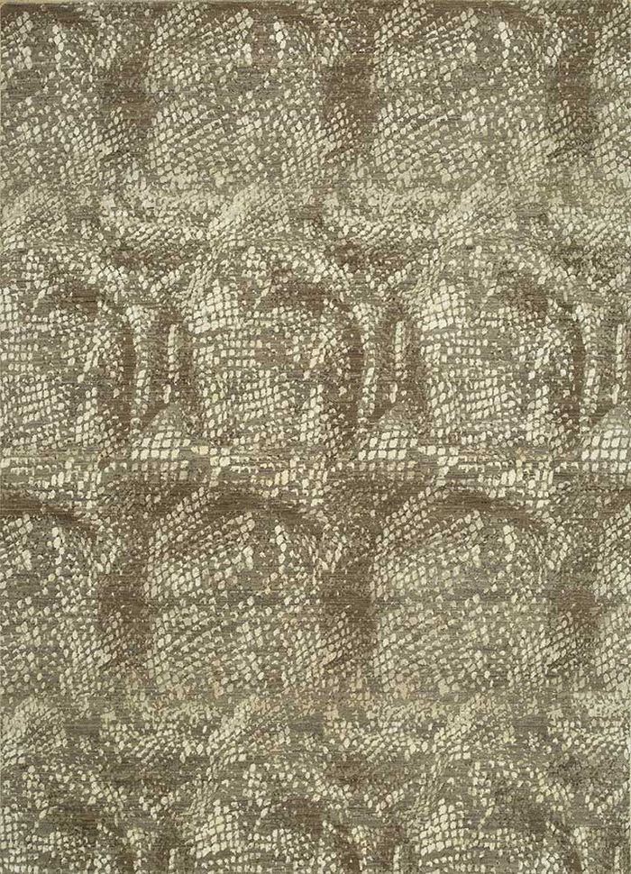 safari beige and brown wool and silk hand knotted Rug - HeadShot