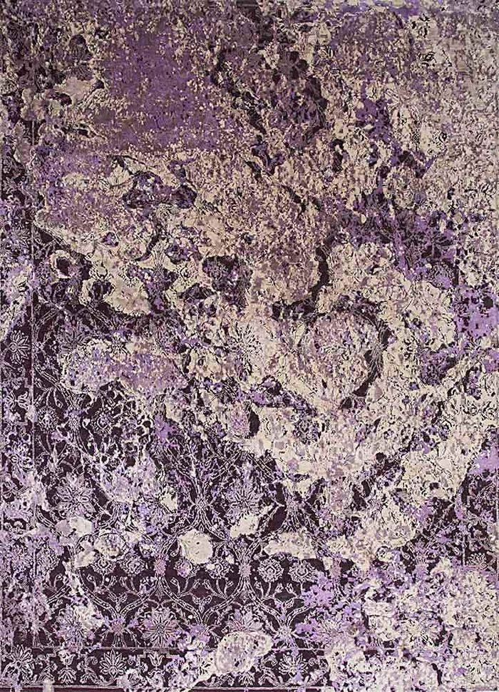 pansy pink and purple wool and silk hand knotted Rug - HeadShot