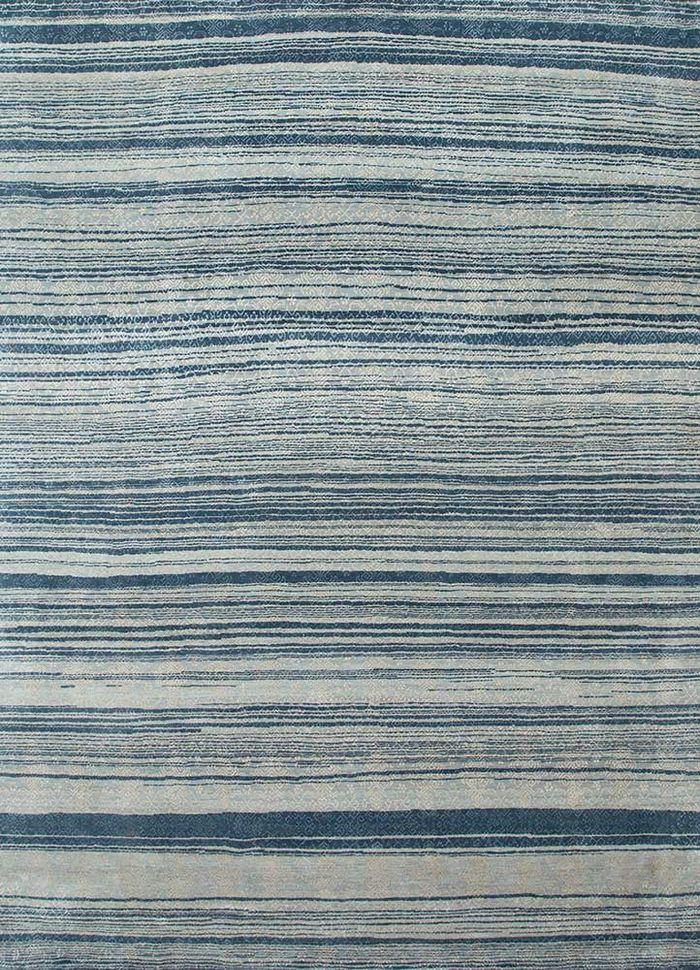 viscaya blue wool and silk hand knotted Rug - HeadShot