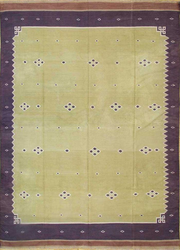 antique gold cotton flat weaves Rug - HeadShot
