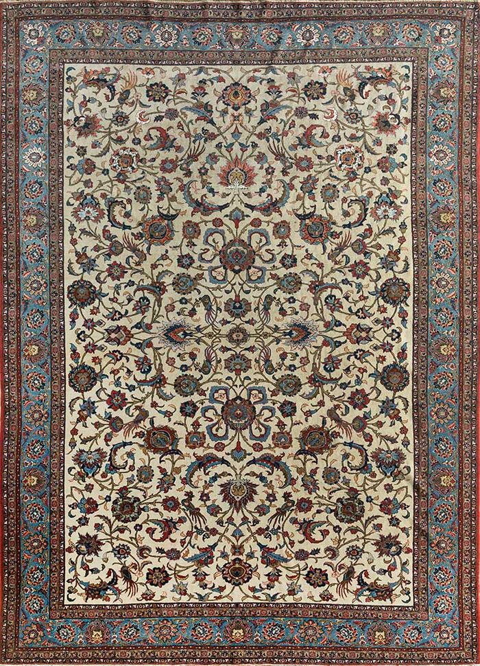 antique ivory wool and silk hand knotted Rug - HeadShot