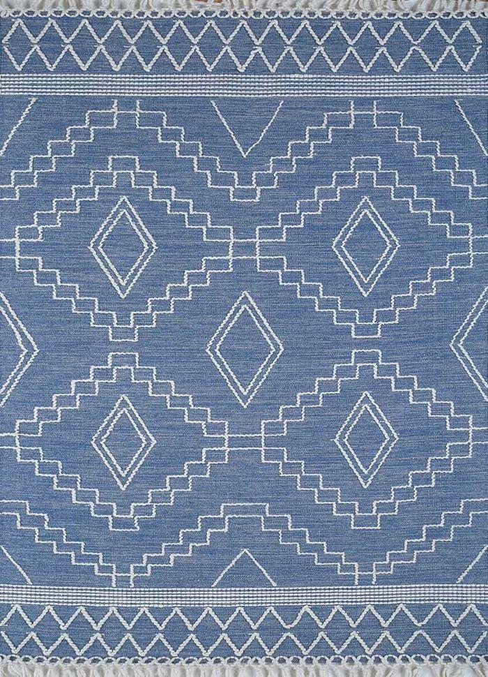 anatolia blue cotton flat weaves Rug - HeadShot
