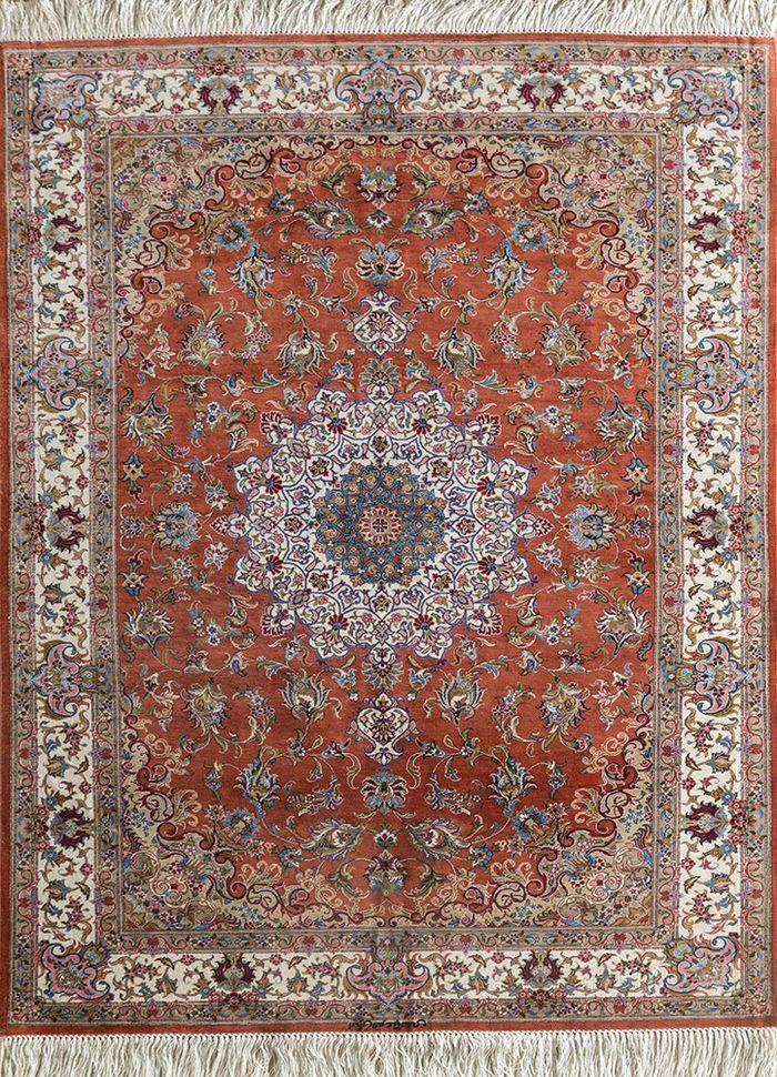 iranian red and orange silk hand knotted Rug - HeadShot
