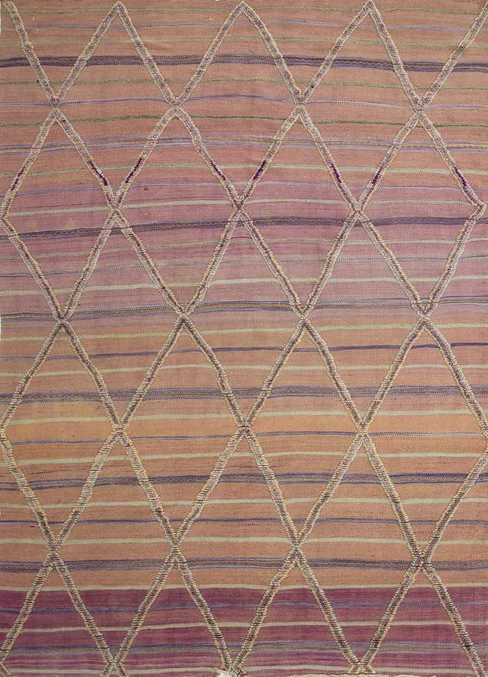 geode pink and purple wool hand knotted Rug - HeadShot