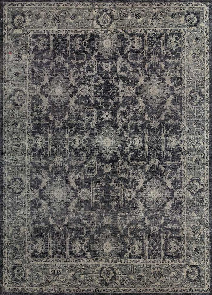 liberty blue wool hand knotted Rug - HeadShot