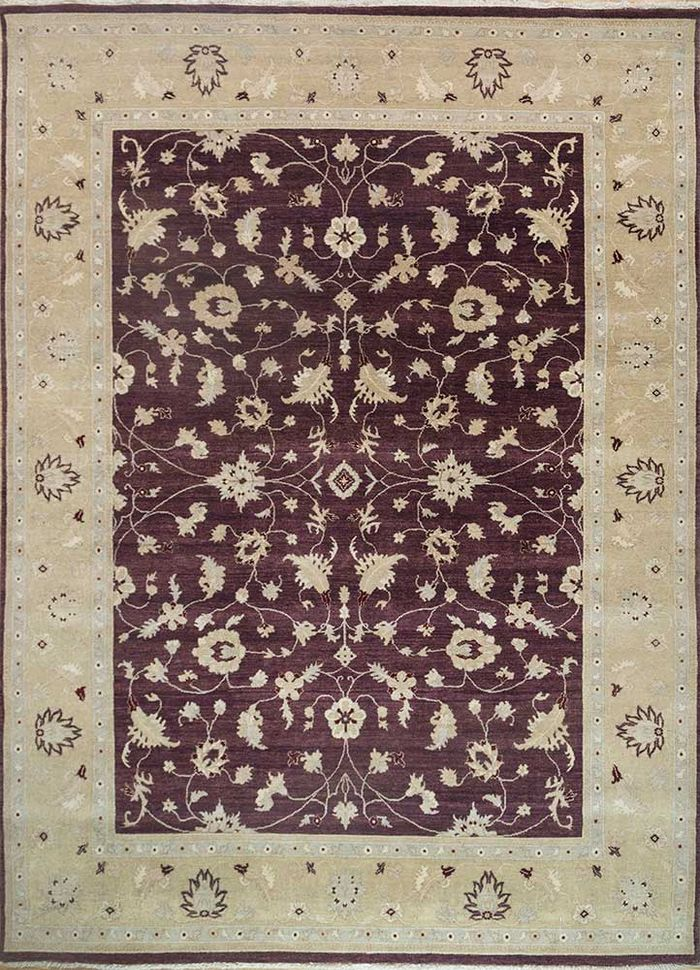 atlantis pink and purple wool hand knotted Rug - HeadShot