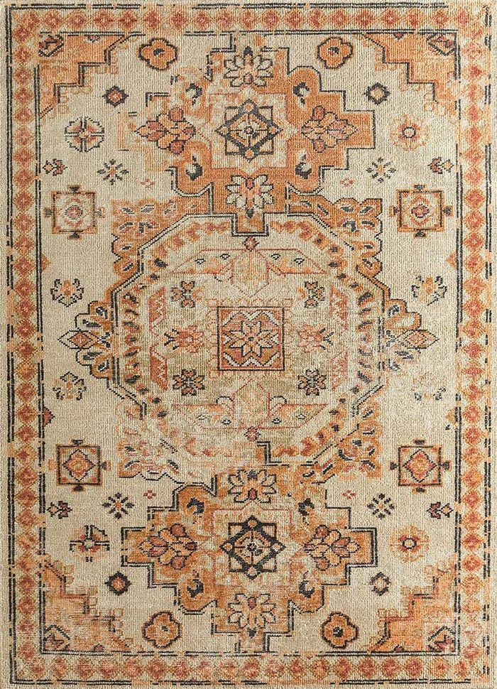 revolution gold wool hand knotted Rug - HeadShot