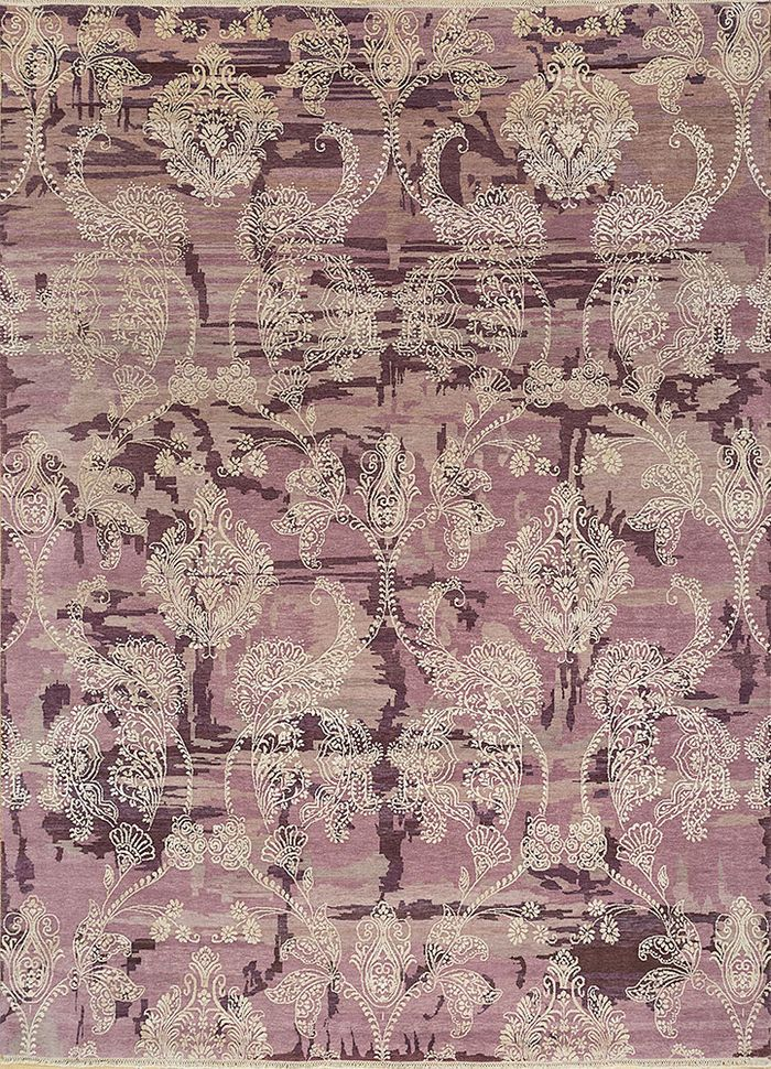 floret pink and purple wool and silk hand knotted Rug - HeadShot